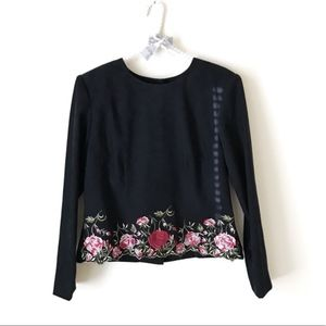 Positive Attitude Rose Floral Embroidered Top